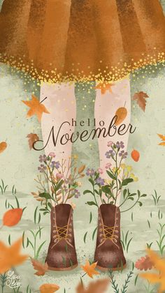 Hello November Printable Illustration for Autumn # Fall Print … – Wallpaper Ideas