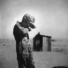 Dust is too much for this farmer's son in Cimarron County, Oklahoma; photo by Arthur Rothstein, April, (Dust Bowl) Library of Congress image. Dust Bowl, Stephen Shore, Walker Evans, Photos Du, Old Photos, Dust Storm, Great Depression, Documentary Photographers, Vintage Photographs