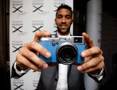 Gael Clichy, #France and #MCFC defender showing off his customised #WeAreMrSmith x #Fujifilm Special Edition #XSignature #X100S http://fuji.co.uk/x-signature