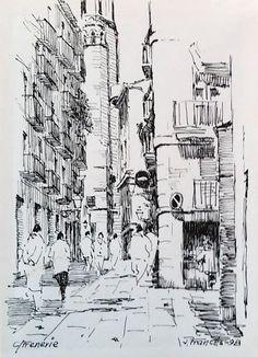 carrer de la Freneria, Barcelona. Joaquim Francés (tinta #ink)