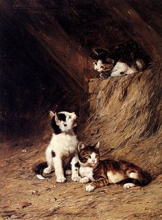 Cat paintings were popular during the 19th century, and Julius Adam was able to make a satisfactory living. He liked cats and had a talent for capturing...