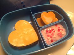 Valentine's Day lunch - heart-shaped cheeseburger, heart-shaped cheese, yogurt with heart sprinkles (and a side of applesauce!)