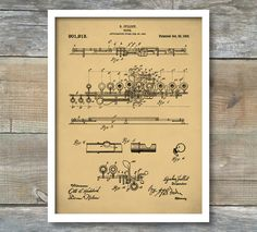Flute 1908 Patent Poster, Music Room Decor, Flute Art, Musician Gift, Marching Band, Band Director Gift, P316 by NeueStudioArtPrints on Etsy