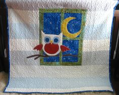 Little OWL blanket baby boy  quilt crib toddler by fairyshred