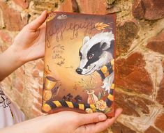 Badger Symbol of Hufflepuff Harry Potter Gift Journal Travelers Notebook Hand Painted Leather Size - Sanati Factory Buy Now With Discount! Leather Books, Leather Notebook, Leather Journal, Custom Journals, Handmade Journals, Personalized Journals, Harry Potter Gifts, Harry Potter Fandom, Leather Sketchbook