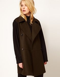 Mango Contrast Sleeve Military Coat  For more visit http://fashion-sketches.net