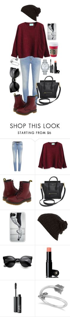 """""""Holidays in London"""" by barbararibeiro2000 ❤ liked on Polyvore featuring Nudie Jeans Co., Dr. Martens, CÉLINE, Samsung, River Island, Chanel, NARS Cosmetics, Allurez and Movado"""