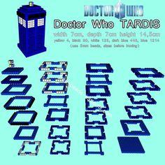 3D TARDIS - Doctor Who Hama beads/ Perler Beads - Free pattern download: