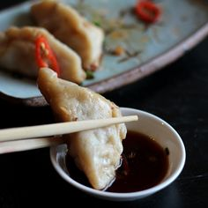 Chinese dumplings with ground pork and a brilliant dipping sauce!