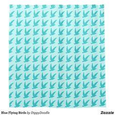 Blue Flying Birds Shower Curtain