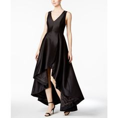 Calvin Klein High-Low A-Line Gown (5,710 MXN) ❤ liked on Polyvore featuring dresses, gowns, black, calvin klein dresses, a line evening dresses, formal ball gowns, formal gowns and formal dresses