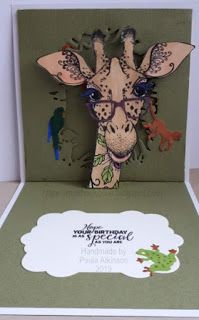 Inside of card. Pop up Giraffe - Pink Ink Design. Backdrop cut with XCut Build a Scene - Jungle Happy Birthday Donna, Square Card, Ink Stamps, Pop Up Cards, Giraffes, Metallic Paint, Birthday Greetings, Cardmaking, Mixed Media