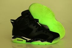 online store e7ed8 15374 Nike Air Jordan VI 6 Retro mens Shoes Glow In The Night Black Green Yellow  Air