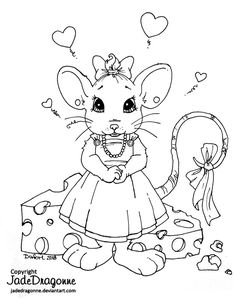 Little Miss Mouse - Lineart by JadeDragonne on DeviantArt Animal Coloring Pages, Colouring Pages, Adult Coloring Pages, Coloring Books, Creation Art, Funny Phone Wallpaper, Colorful Drawings, Illustrations And Posters, Digital Stamps