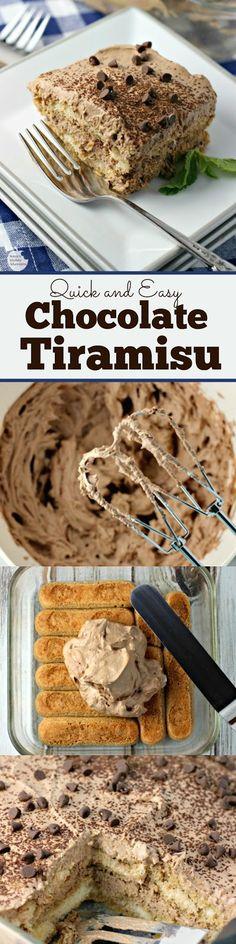 Chocolate Tiramisu | by Renee's Kitchen Adventures - quick and easy dessert recipe for chocolate flavored tiramisu #SundaySupper #RKArecipes