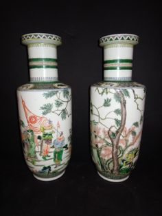 LA-6356  20''H 8''Diameter Pair of Chinese Famille Vert porcelain vases.  19th century