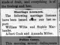 Clipping found in The Fort Wayne Sentinel in Fort Wayne, Indiana on Jul Amanda & Albert Cook Marriage License Amanda Miller, Kinds Of Fruits, Marriage License, Cooking, Kitchen, Brewing, Cuisine, Cook