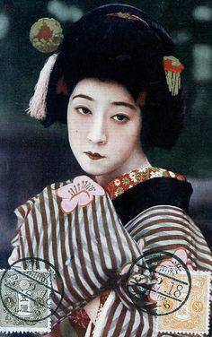 Actress 1914 A vintage Japanese postcard, postmarked Taisho 3 (1914).