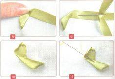вышивка лентами, уроки вышивания, японский стежок