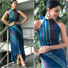 Stripes with placement. Casual Dresses, Fashion Dresses, Maxi Dresses, Western Dresses, Western Outfits, Indian Outfits, Indian Gowns Dresses, Sari Dress, Bollywood Dress