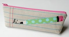 Very well matched the cute lines fabric & the applique design ~ Pencil's Case by Kim retro-mama ~