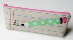 linen pencil pouch