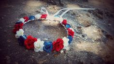 red white and blue Rose crown headband Flower by dieselboutique