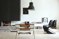 Vardagsrum Bauhaus öppen spis betong design