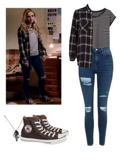A fashion look from January 2017 featuring navy top, stripe tee and high rise skinny jeans. Browse and shop related looks. Casual School Outfits, Teen Fashion Outfits, Edgy Outfits, Swag Outfits, Cute Casual Outfits, Grunge Outfits, Outfits For Teens, Nerd Fashion, Punk Fashion