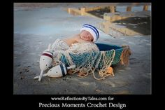 Newborn Sailor Hat, Baby Crochet Sailor Hat by PreciousMomentsProps, $24.00