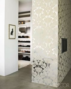 Love the wallpaper Alice Cottrell's Poliform WalkIn Closet Silver Foil Cole And Son Damask | DelysiaStyle