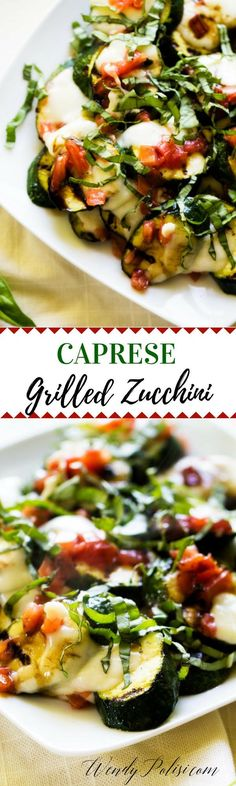 This Caprese Grilled Zucchini is the perfect summer side you will crave time and again! Perfect for your next summer grill out. via @wendypolisi