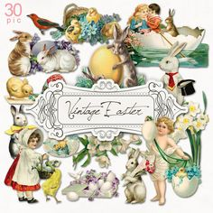 VEL 3329 Vintage Easter Clip Arts | NeareStore