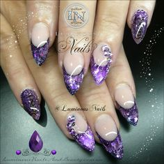 Sculptured Acrylic with Indigo Illumination Aquarius, GlitterGasm Violet Chunky Fine, Artistic Purple Pearl Strips, RDCorp Snake Skin Nail Art, Young Nails Lavender Glitter & Crystals. Goth Nails, Bling Nails, Stiletto Nails, Gorgeous Nails, Pretty Nails, Snake Skin Nails, Hair And Nails, My Nails, Diamante Nails