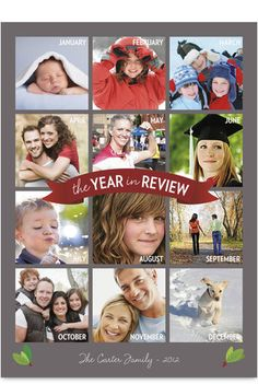 Gray Vertical Year in Review Photo Holiday Card