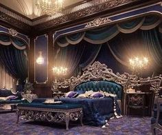 European Style Luxury Carved Bedroom Set - Top and Best Classic Furniture and Classical interior Design Italian Companies master bedroom bedroom ideas for Men Dream Rooms, Dream Bedroom, Mansion Bedroom, Royal Bedroom, Blue Bedroom, Indian Bedroom, Royal Purple Bedrooms, Purple Rooms, King Bedroom Sets