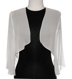 Mid Length Sleeve Sheer Ivory Chiffon Bolero Jacket 3/4 Length Shrug $29.99