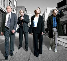 The original crew: James Bolam, Dennis Waterman, Amanda Redman and Brian Lane in a publicity photo for the very first series of New Tricks, which was launched on BBC One in 2003 British Sitcoms, British Comedy, British Actors, Bbc Tv Shows, Movies And Tv Shows, James Bolam, Amanda Redman, Drama Channel