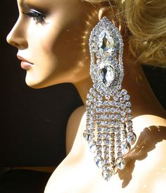 stunning vintage clear rhinestones statement necklace drag