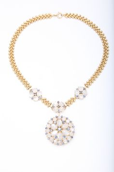 1900s Moonstone Sapphire Necklace | From a unique collection of vintage drop necklaces at https://www.1stdibs.com/jewelry/necklaces/drop-necklaces/