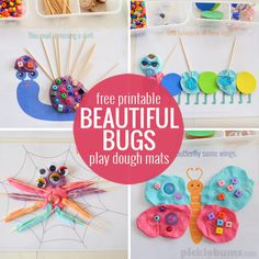 Beautiful Bugs! Free printable play dough mats~cut shape out of construction paper