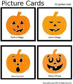Free Pumpkin Feeling cards - Pinned by @PediaStaff – Please visit http://ht.ly/63sNt for all (hundreds of) our pediatric therapy pins