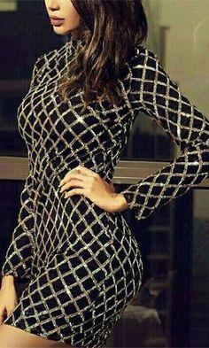 445de212fcb4 Off The Grid Black Gold Sequin Diamond Geometric Long Sleeve Mock Neck  Bodycon Mini Dress