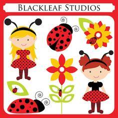 Ladybug Girls  Ladybird Girls Flowers Garden by BlackleafClipart, $5.00