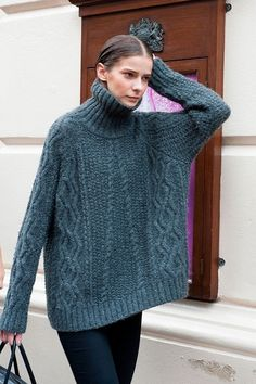 Aran/cable oversized turtleneck