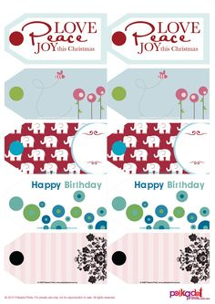 FREE printable gift tags: Christmas, baby shower, birthday, girly... great!