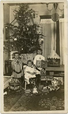 Christmas Morning In Front of the Tree, 1912 Akron Ohio.