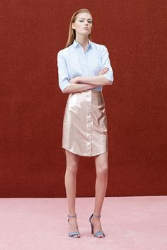 Look 15 - Blue button down 3/4 sleeve shirt and pink metallic leather button down skirt   Alexander Lewis Resort 2015 Fashion Show