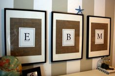 for the boys' room: I need to decide if i am going to initials or their full name above their bed...too many choices! :)