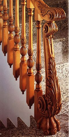 Wooden Staircase Hand-carved  Banisters & Newel Post .....